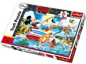 Zobrazit detail - TREFL Maxi puzzle pro děti Mickey Mouse a přátelé Na rybách 24 dílků