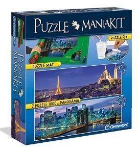 Zobrazit detail - Puzzle Clementoni 2 x 1000 dílků + rolovací podložka + lepidlo -  MANIAKIT