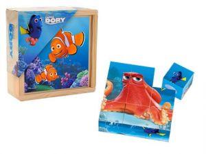 Zobrazit detail - Dřevěné obrázkové  kostky -  Hledá se Dory  - 9 ks kubus v dřevěné krabičce