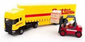 TEAMA - tahač Scania s návěsem a vysokozdvižným vozíkem 3.ass  1:48  - žlutá  barva