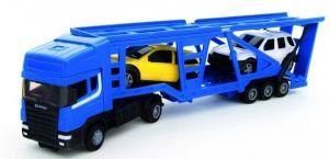 TEAMA - tahač Scania s návěsem na přepravu aut 4.ass  1:48  - modrá  barva