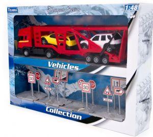 TEAMA - tahač Scania s návěsem na přepravu aut  1:48  - červená  b. + sada dopravních značek