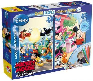 Puzzle Lisciani  2x48 dílků - oboustranné - Mickey - 40711b
