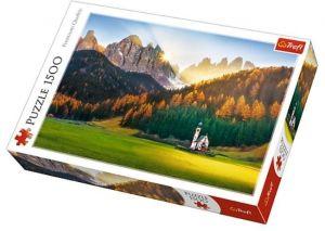Puzzle Trefl 1500 dílků - Kostel v Dolomitech -  Trefl 26134