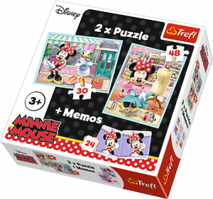 Puzzle Trefl  30 + 48 dílků + hra Memos ( pexeso ) Minnie  90605
