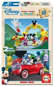 Puzzle Educa dřevěné 2 x 25 dílků -  Mickey Mouse  13470