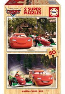 Puzzle Educa dřevěné 2 x 50 dílků - CARS  16372