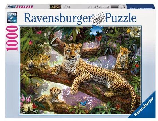 puzzle Ravensburger 1000 dílků - hrdá matka leoparda 191482