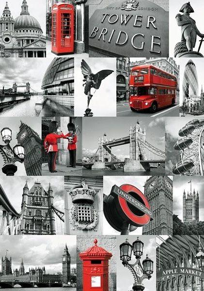 Puzzle Ravensburger 1000 dílků - Londýn - koláž 191444