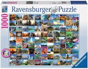 puzzle Ravensburger - 1000 dílků  - 99 krásných destinací
