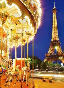 Puzzle Clementoni 1000 dílků - Kolotoč v Paříži u Eiffelovky , Clementoni 39228 - AKCE