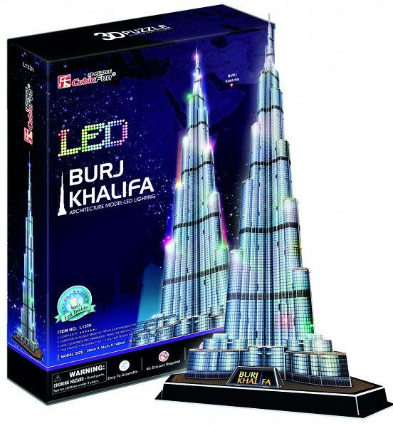 3 D Puzzle CubicFun - Burj Khalifa 136 d. LED - svítící Cubic Fun