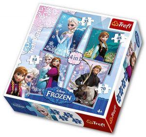 35, 48, 54 a 70  dílků -  4v1  Frozen - Ledové království    -  puzzle   Trefl