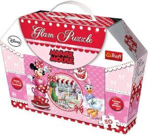 Puzzle Trefl  50  dílků -  Minnie Mouse  -  puzzle  se třpytkami