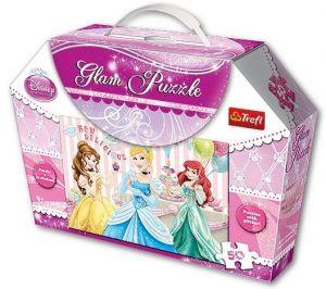 Puzzle Trefl  50  dílků -  Princezny -  puzzle  se třpytkami