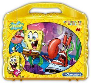 Kubus Clementoni - Spongebob  - 24 obrázkových kostek v kufříku