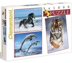 Puzzle Clementoni 1000 dílků -  3 x  1000 dílků  Zvířata  08004