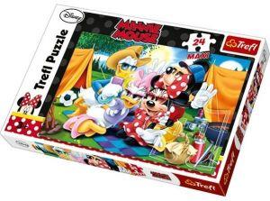 24 MAXI dílků  -  Mickey Mouse -  stanování  - puzzle Trefl