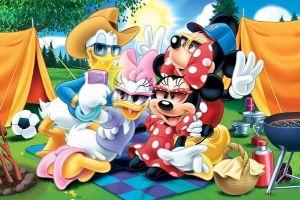 Puzzle Trefl 24 MAXI dílků - Mickey Mouse - stanování - Trefl 14220