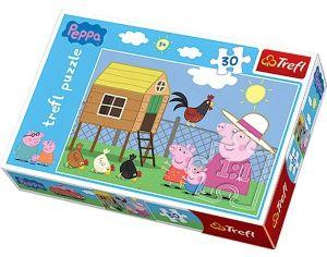 Puzzle  Trefl  - 30 dílků  - Prasátko Peppa - návštěva kurníku