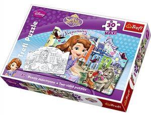 Puzzle Trefl 30 MAXI dílků - Sofie - oboustranné tvarové puzzle s omalovánkymi - Trefl 14420