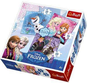 Puzzle   Trefl 3v1 - 20 , 36 a 50  dílků - Frozen - Ledové království  34810