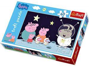 Puzzle   Trefl 60 dílků - Prasátko Pepíno - cesta na měsíc