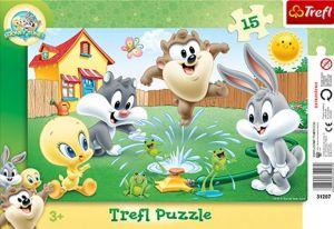 15 dílků - Looney Tunes - zábava v zahradě  - deskové puzzle Trefl  31207