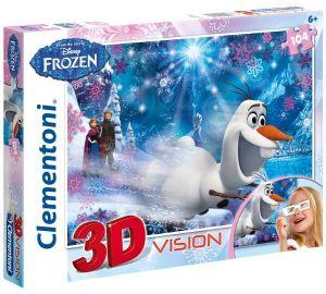 Puzzle Clementoni 104 dílků  3D - Frozen - Ledové království