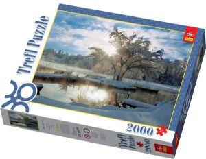 TREFL Puzzle Zimní svítání u jezera 2000 dílků