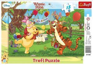 Deskové puzzle Trefl 15 dílků - 31209 - Medvídek Pů - výprava za pokladem
