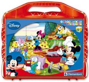 CLEMENTONI Dětské obrázkové kostky  ( kubus ) - Mickey Mouse 12 kostek v kufříku 41159