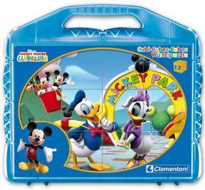 CLEMENTONI Dětské obrázkové kostky  ( kubus ) - Mickey Mouse m.  12 kostek v kufříku 41130