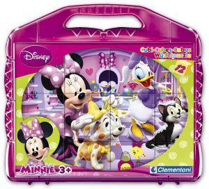CLEMENTONI Dětské obrázkové kostky  ( kubus ) - Minnie  Mouse 12 kostek v kufříku 41171