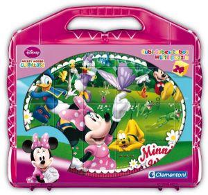 CLEMENTONI Dětské obrázkové kostky  ( kubus ) - Minnie  Mouse 24 kostek v kufříku 42416