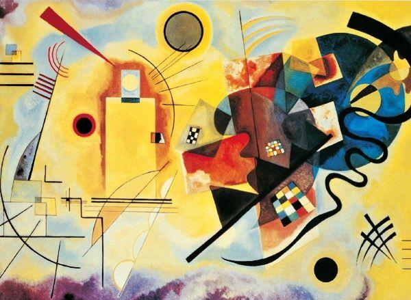 Clementoni Puzzle 1000 dílků Wassily Kandinsky, Žlutá, červená, modrá
