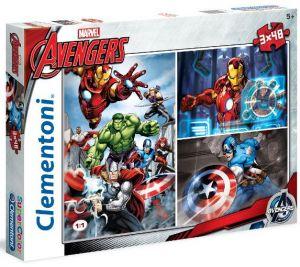 Dětské puzzle Clementoni  - 3 x 48 dílků  -  Avengers  25203