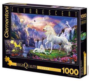 Puzzle Clementoni 1000 dílků  Svítící  -  Jednorožci v podvečer