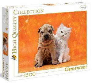 Puzzle CLEMENTONI 1500 dílků - Tak roztomilí - pejsek a kočička  31634