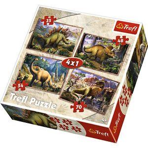 35, 48, 54 a 70  dílků -  4v1   Dinosauři -   puzzle   Trefl