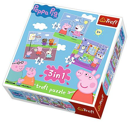 Puzzle Trefl 3v1 - 20, 36 a 50 dílků - Prasátko Peppa - zábava ve škole 34813