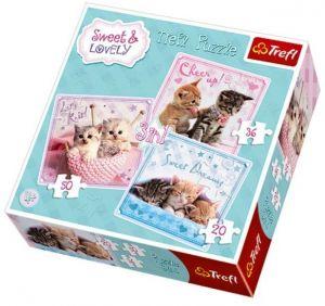 TREFL Puzzle pro děti 3v1 Sladká koťátka 20 36 50 dílků
