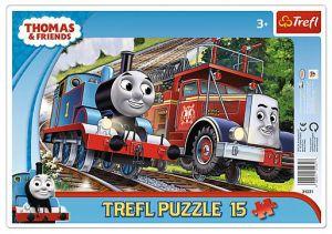 15 dílků Mašinka Tomáš - deskové puzzle Trefl 31231