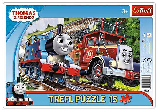 15 dílků Mašinka Tomáš - puzzle v rámečku ( rámkové ) puzzle Trefl 31231