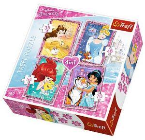 35, 48, 54 a 70  dílků -  4v1  Princezny  -  puzzle   Trefl  34256