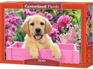 Puzzle Castorland 500 dílků   Labrador v růžovém boxu  52226
