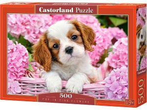 Puzzle Castorland 500 dílků Štěně v květinách 52233