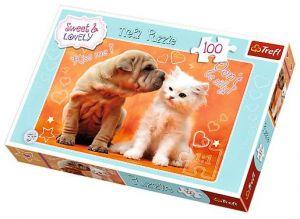 Puzzle Trefl  100 dílků - Pejsek a kočička 16264