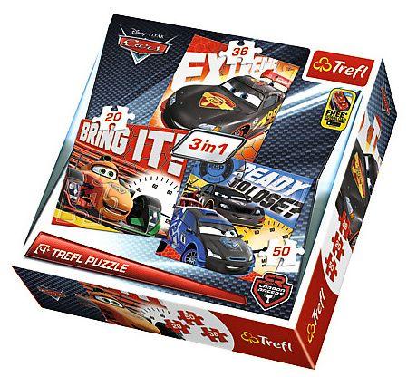 Trefl Puzzle 3v1- 20 36 50 dílků - Cars 34819
