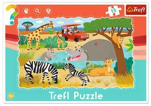 15 dílků Safari - deskové puzzle Trefl 31217